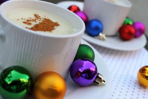 Silk soy spiked egg nog with whiskey by female fitness blogger from Southern California