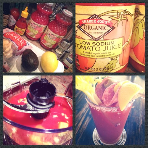 Lauryn Evarts, fitness blogger makes her own bloody mary mix on a rainy Saturday.