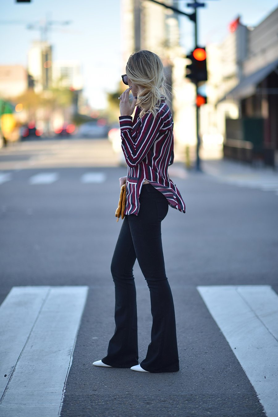 striped blouse with flares | by the skinny confidential