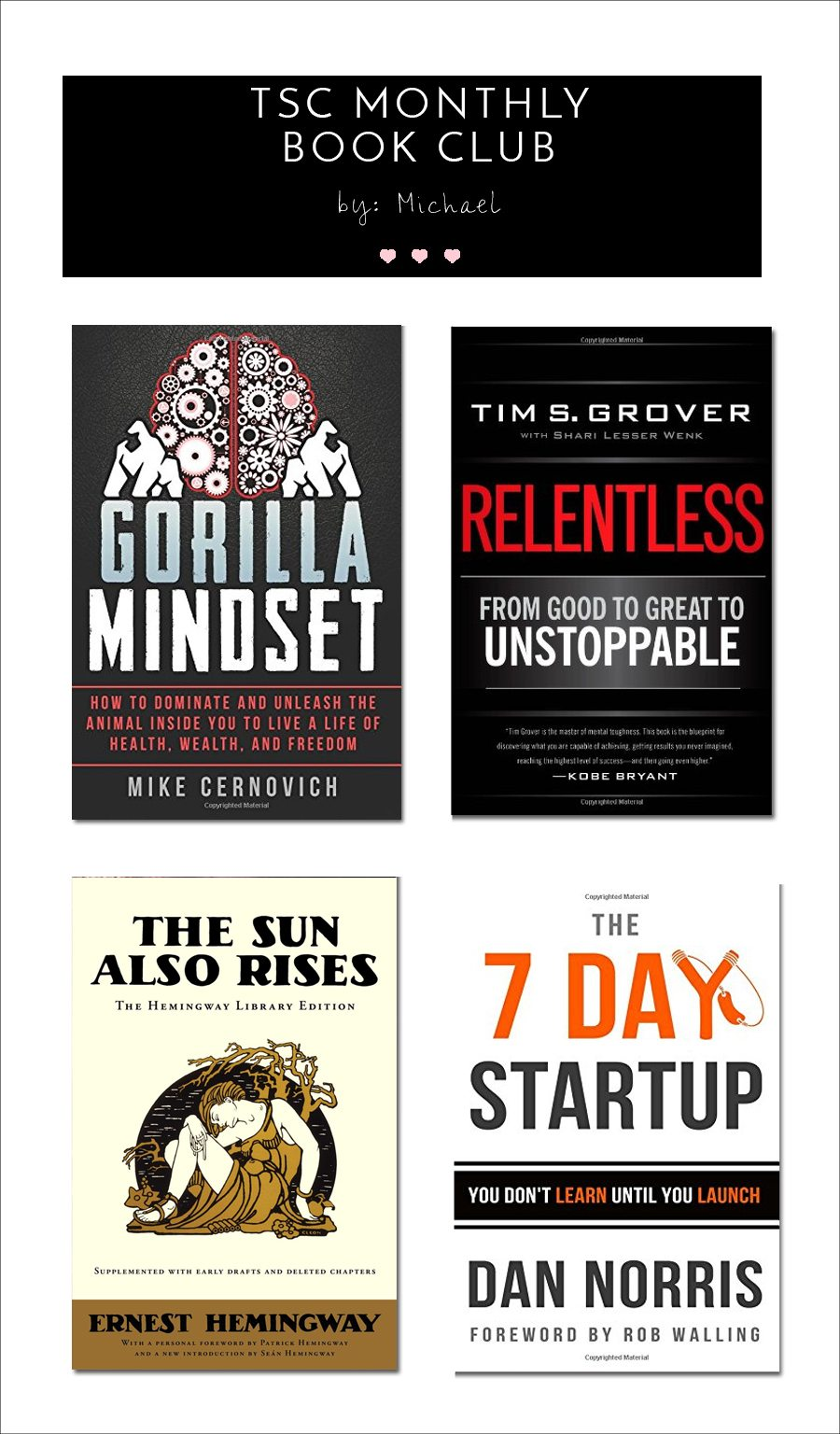 michael's monthly book post, michaels book recommendations, michael, book recommendations, gorilla mindset, 7 day start up, the sun also rises, relentless, the best books